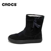 Crocs女鞋 保暖雪地靴女冬芮莉洛基软跟平底短筒靴|203425 女士芮莉洛基靴(黑色 35)