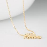 AITEKA 愛緹卡 大象牽小象 925純銀黃金色項鏈