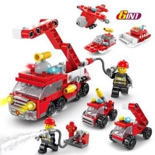 HUIQIBAO TOYS 汇奇宝 兼容乐高积木男孩工程车城市建筑警察局儿童益智力工程拼装汽车玩具塑料6-14岁 城市消防