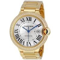 Cartier 卡地亞 Ballon Bleu 鑲鉆表盤18K黃金男士手表