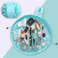 美肤语懒人抽绳化妆包(蓝色)MF0626大容量简约收纳包便携旅行洗漱包收纳袋束口袋 *9件