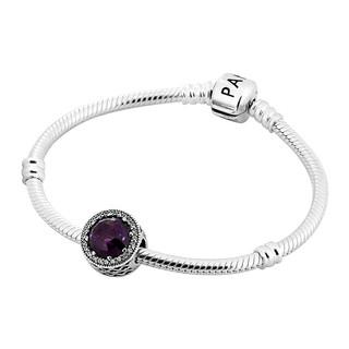 PANDORA 潘多拉 LZPDL0017-17 女士紫色猫眼石925银手镯 紫色 17cm