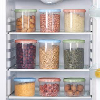 惬艺 6个装厨房五谷杂粮收纳盒带刻量塑料密封罐白糖罐蝴蝶面干货收纳储物罐 (组合7)1200ML 6个装