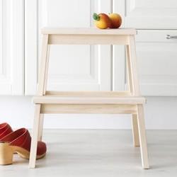 施豪特斯 凳子实木休闲吧台实木楼梯凳梯椅家用梯子两用折叠凳两步梯阶梯凳ST5 原木色