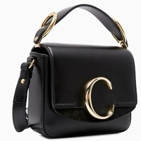 Chloé 珂洛伊 Bag系列 女士金属LOGO手提包单肩包  C19SS190-A37-001 黑色