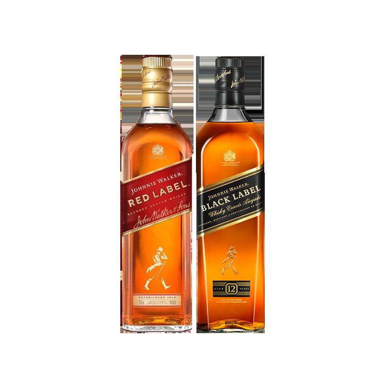 Johnnie Walker 尊尼获加黑方黑牌红方威士忌酒l组合 700m