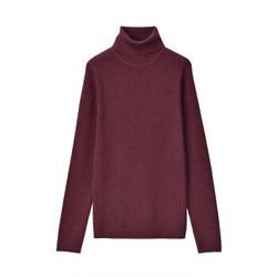 无印良品 MUJI 女式 减轻颈部刺痛感 罗纹 高领毛衣 深紫红色 M