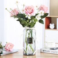 巧心师玻璃花瓶大号透明水培富贵竹百合条纹花瓶花盆花器假花客厅插花创意家居装饰品摆件情人节礼物送老婆