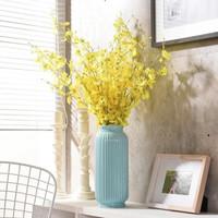 华达泰陶瓷 北欧现代陶瓷花瓶 蓝色花瓶 10束跳舞兰 *3件