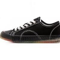 WARRIOR 回力 女士彩虹底系带圆头低帮帆布鞋 WXY-A695YD 黑色 34