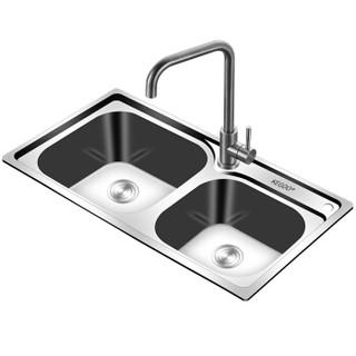 京东PLUS会员 : 科固(KEGOO)K10021 水槽双槽 不锈钢洗菜盆 厨房水盆龙头套装74*40