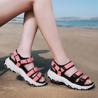 CAMSSOO美骆世家女士厚底增高沙滩鞋熊猫底舒适休闲凉鞋