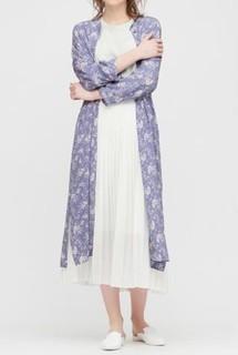 UNIQLO 优衣库 女士印花碎花衬衫式连衣裙 424778 黑色 XS