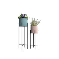 兆生 北欧ins现代简约圆形桶铁艺花架 高60cm