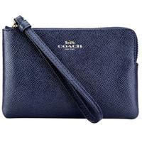 COACH 蔻驰 奢侈品 女士深蓝色皮质短款手拿包零钱包 F58032 IMMID *4件