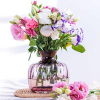 画法几何 手工吹制流纹系列花瓶 荧粉色(小号)