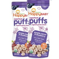 88VIP:HAPPYBABY 禧贝 宝宝有机泡芙 蓝莓紫胡萝卜 60g/罐*2 *4件