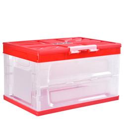 百露多功能折叠收纳箱汽车后备箱储物箱塑料收纳箱置物箱居家收纳 红色折叠箱 防水袋 *3件