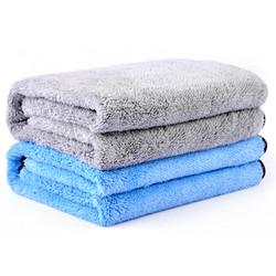 卡饰社(CarSetCity)中号珊瑚绒洗车毛巾 双层加厚 2条装 60×40cm 灰色+蓝色 *9件