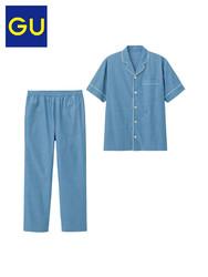 GU极优男装睡衣明线小翻领简约薄款复古家居服夏套装313163