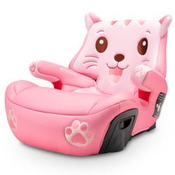 安默凯尔汽车儿童安全座椅增高垫3-12岁isofix硬接口宝宝简易便携式安全坐垫粉红抱抱猫