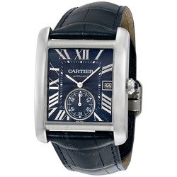 Cartier 卡地亚 Tank MC系列 蓝色表盘精钢男士手表