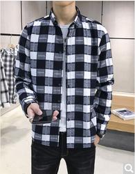 迈思凯   春季新款长袖衬衫男士格子上衣服韩版帅气休闲港风衬衣潮 A455-640黑白格 M *2件