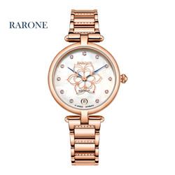 雷诺(RARONE)手表 悦己系列时尚机械女士手表钟表 钢带防水镶钻 花形秒针