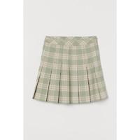 H&M 女装高腰女半身裙 加菲猫系列 0863502 浅绿色/格子 150/60A