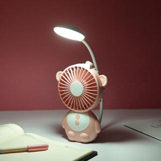 威乐星 多功能猴精灵台灯风扇 USB充电移动电源充电宝 小风扇迷你手持桌面静音电风扇 橙色