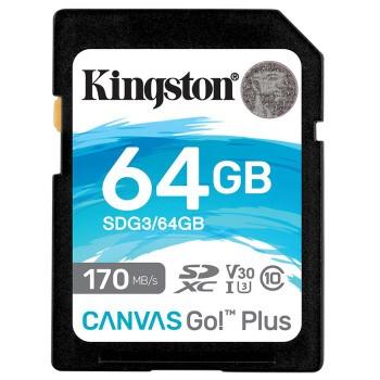 Kingston 金士顿 CANVAS GO PLUS SDXC UHS-I U3 SD存储卡 64GB