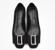 DAPHNE 达芙妮 女士小方跟坡跟鞋 1019403200 黑色 34