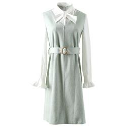棉立方 19CE1236 女士假两件复古连衣裙