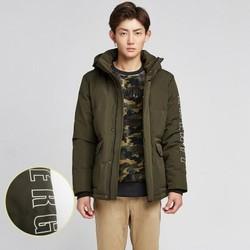 拉夏贝尔pote男装秋冬季服装时尚印花短款羽绒外套男士羽绒服