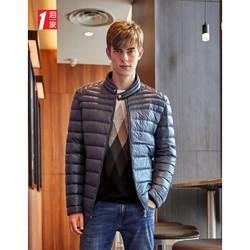 海一家2019冬季新品带扣立领多色可选拉链口袋短款羽绒服男 蓝灰条纹07 170/88A/M *2件