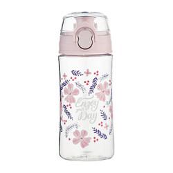 日本MORITOKU 塑料杯 男女运动水杯子 花团印刷粉色弹跳杯MTWBL-26