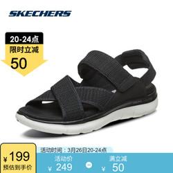 Skechers斯凯奇夏季交叉布带凉鞋 可调节魔术贴休闲鞋女66666154 黑色/BLK 35