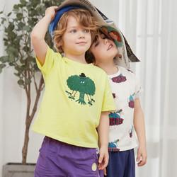 迷你巴拉巴拉男童短袖纯棉T恤2020年夏装儿童上衣宝宝卡通打底衫 *3件