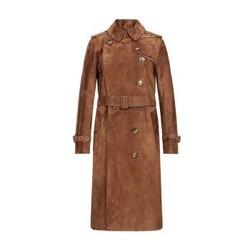 BURBERRY 巴宝莉 女款棕色小牛皮反绒面革Trench风衣