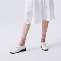 百思图 WAE01AM9 牛皮革系带方跟休闲鞋
