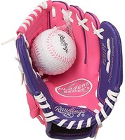 Rawlings Players 系列 9 英寸 PL91PP 青年棒球手套 粉红色/紫色 9英寸