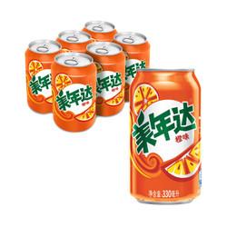 限华南:Mirinda 美年达 橙味 汽水 碳酸饮料 330ml*6听 9.9元_京东优惠_优惠购