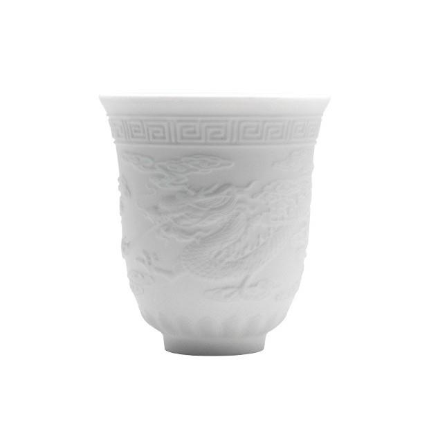 研艺 德化白瓷茶杯陶瓷小单杯玉瓷品杯大号个人茶具茶道品茗杯主人杯子 龙凤杯