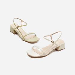 热风粗跟凉鞋女2020年夏季新款女士时尚粗跟凉鞋 03米色 37正码