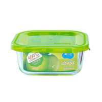 CHAHUA 茶花 64211K 方形耐热玻璃保鲜盒 500ml 绿色