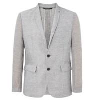 ME&CITY 男士单排两粒扣平驳领商务西装外套 536329 灰色 XXL
