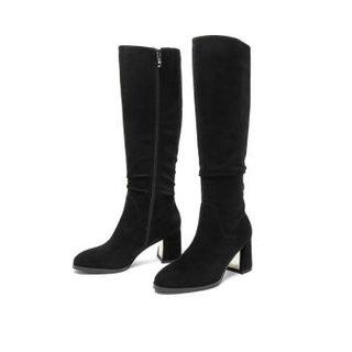 Teenmix 天美意 女士侧拉链粗高跟绒面高筒靴 COF81DG9 黑色 36