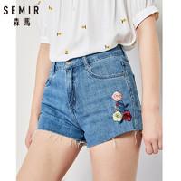 森马牛仔短裤女学生夏季韩版潮流毛边学生刺绣a型显瘦裤子