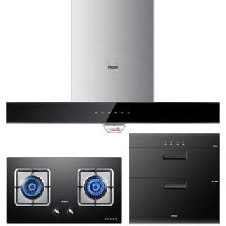 海尔(Haier)欧式抽油烟机 燃气煤气灶 消毒碗柜 厨房三件套 烟灶消套装E900T6(J) QE5B1 12LCS(天然气)