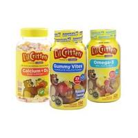 美国进口lilcritters丽贵小熊糖儿童复合维生素190粒+儿童补钙150粒+鱼油DHA120粒三件套